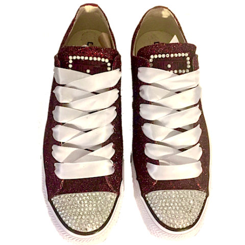 Sparkly Glitter Converse All Stars Burgundy Maroon Wine wedding bride prom sneakers shoes