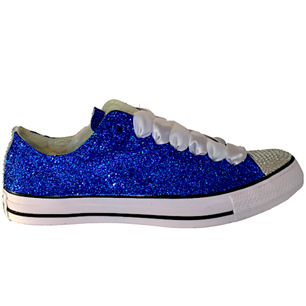 edb606aa576d Womens Sparkly Royal Blue Glitter Crystals Converse All Star wedding bride  prom shoes