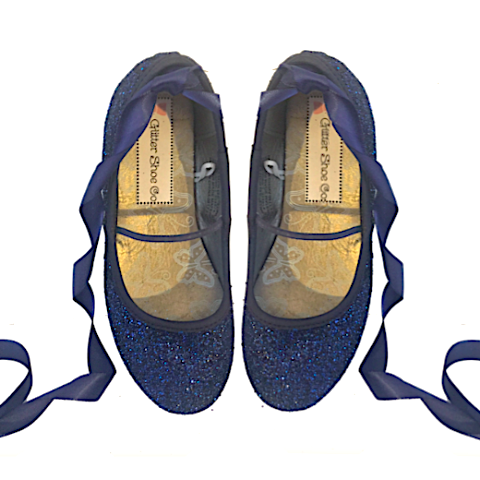 Sparkly Glitter Ballet Flats Shoes Birthday Flower Baby Girl Toddler Newborn Navy Blue Pageant