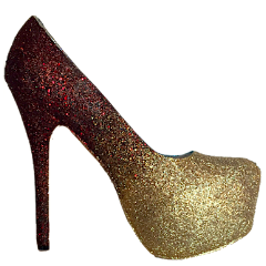 Women's Sparkly Burgundy Gold ombre Glitter High Low Heels wedding bride Prom shoes