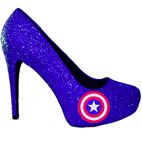 Women's Sparkly Captain America Super Hero Royal Blue Glitter Heels wedding bride shoes
