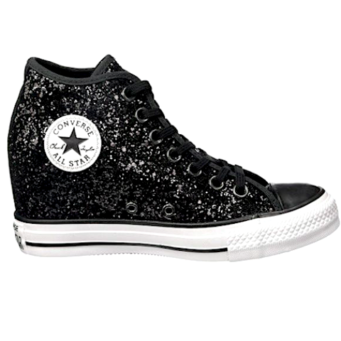 0553c3ad47d Sparkly Black Glitter Converse All Stars Wedge Heels Wedding Bride Prom  Sneakers Shoes