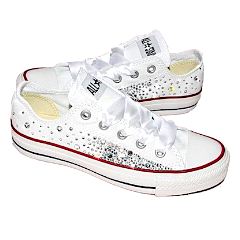 Women s White Converse All Star Chucks Crystal Bling Sneakers Prom Wedding  Shoes ee0b0e8df