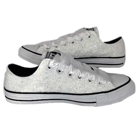 Women's White Converse All Star Chucks Crystal Bling Sneakers Prom Wedding Shoes
