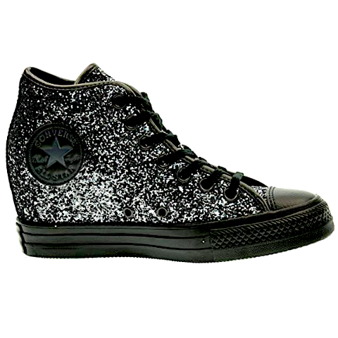 Gunmetal Silver Black Glitter Converse All Stars Wedge Heels Wedding Bride Shoes Sneakers Prom