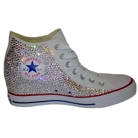 11578a7fd1cab0 Sparkly Converse All Stars Wedge Sneakers Heels Bling Crystals Bride  Wedding Shoes