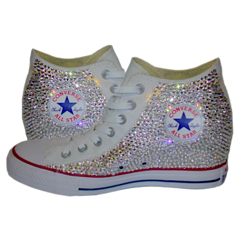 d3c2a035dc45 ... Sparkly Converse All Stars Wedge Sneakers Heels Bling Crystals Bride  Wedding Shoes ...