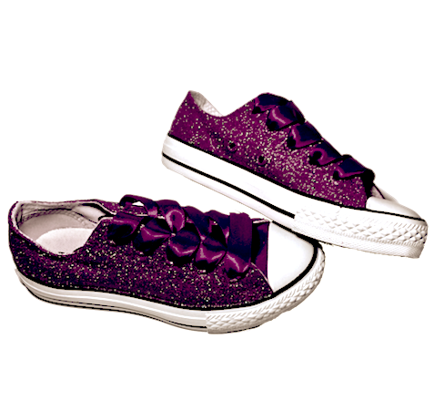 Kids Sparkly Glitter Converse All Stars low Bling Sneakers Shoes Red