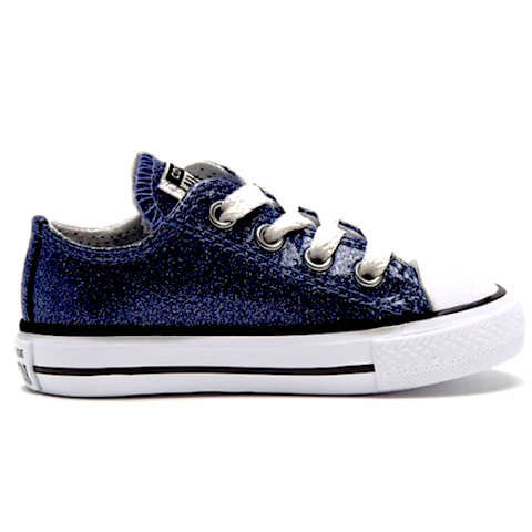 Kids Sparkly Glitter Converse All Stars low Bling Sneakers Shoes Navy Blue