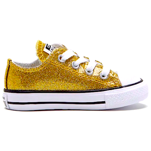 Kids Sparkly Glitter Converse All Stars low Bling Sneakers Shoes Gold