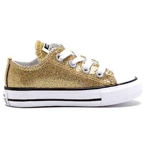 Kids Sparkly Glitter Converse All Stars low Bling Sneakers Shoes Pale Gold