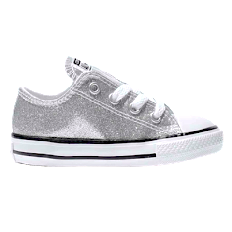 Kids Sparkly Glitter Converse All Stars low Bling Sneakers Shoes Silver