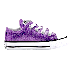 Kids Sparkly Glitter Converse All Stars low Bling Sneakers Shoes Lavender Purple