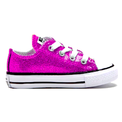 Kids Sparkly Glitter Converse All Stars low Bling Sneakers Shoes Hot Pink Princess