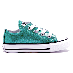 Little Kids Sparkly Glitter Converse All Stars low Bling Sneakers Shoes Mint Mermaid Green