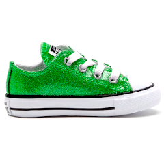Kids Sparkly Glitter Converse All Stars low Bling Sneakers Shoes lime Mermaid Green