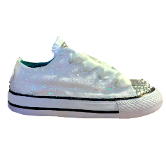 Kids Sparkly Glitter Converse All Stars low Bling Sneakers Shoes White or Ivory