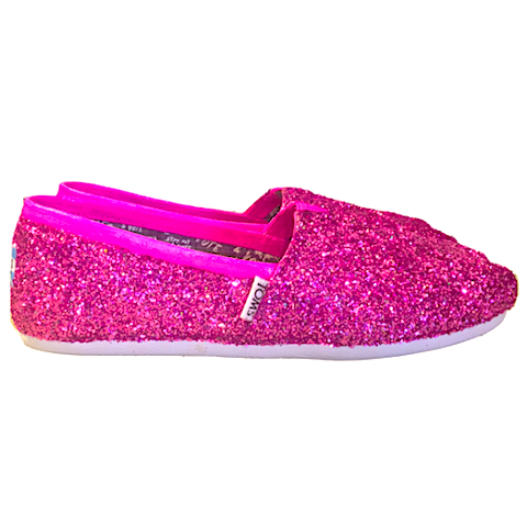 1aa4c23ed9bf Womens Sparkly Glitter Toms Flats shoes bridal Bride Wedding Comfortable  Hot Pink Fucshia