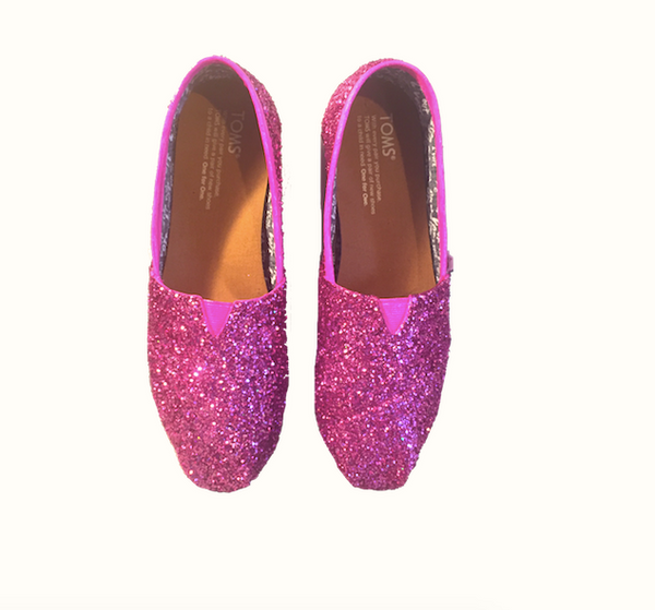Womens Sparkly Glitter Toms Flats shoes bridal Bride Wedding Comfortable Hot Pink Fucshia
