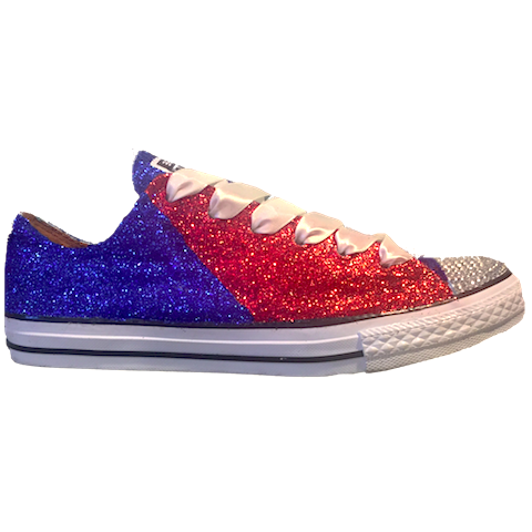 Women's Converse All Star Glitter Sneakers team college Sports Shoes Red Blue Patriots Bills Football