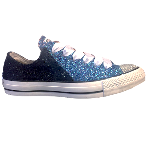 Women's Converse All Star Glitter Sneakers Team Spirit College Sports Shoes Black Blue Panthers Football