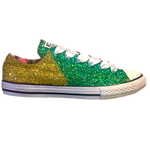 Women's Converse All Star Glitter Sneakers Team Spirit College Sports Shoes Green Yellow Gold oregon football