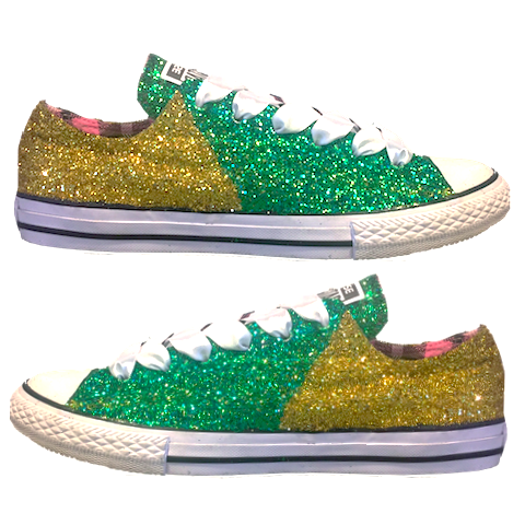 Women's Converse All Star Glitter Sneakers Team Spirit College Sports Shoes Green Yellow Gold Packers
