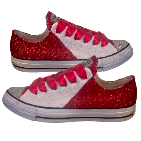 Women's Converse All Star Glitter Sneakers Team Spirit College Sports Shoes Red White Chiefs 49ers
