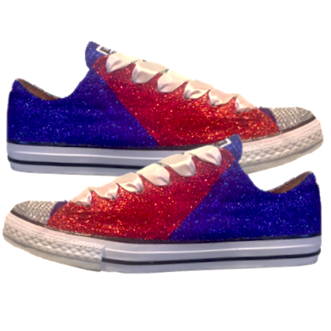 Women's Converse All Star Glitter Sneakers Team Spirit College Sports Shoes Red Blue Patriots Bills Football