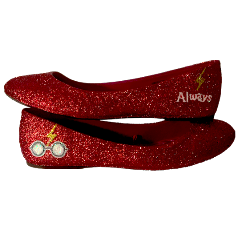 Women's Sparkly Dark Red Burgundy Glitter ballet Flats bride wedding shoes Harry Potter