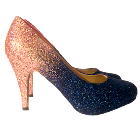 Sparkly Navy Blue Rose Gold Ombre Glitter Heels wedding bride shoes