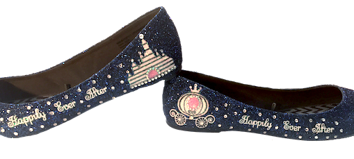 Womens Navy Blue Glitter Ballet Flats Cinderella Fairy Tale Shoes Wedding prom formal
