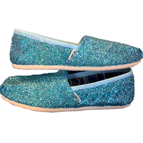 Womens Sparkly Glitter Toms Flats shoes bridal Bride Wedding Comfortable Cinderella Blue fairytale