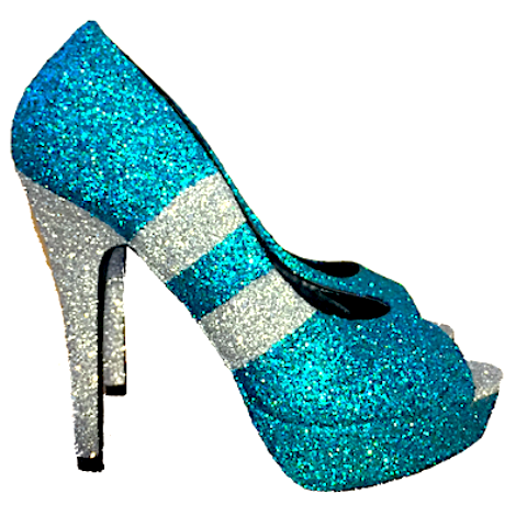 Women's Teal Green Silver Glitter Heels Football Sports Super Bowl shoes Eagles