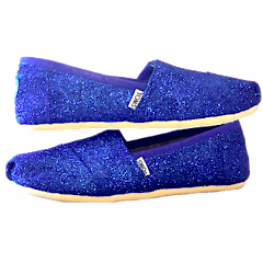 Women's Sparkly glitter Toms Royal Blue Wedding bride gift something shoes