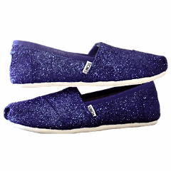 Women's Sparkly glitter Toms Navy Blue Wedding bride gift comfortable flat shoes