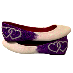 Women's Sparkly Purple White Ombre Two Hearts Glitter Ballet Flats Wedding Bride Shoes