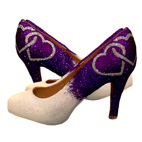 Women's Sparkly White Purple Ombre Two Hearts Glitter high Low Heels wedding bride prom shoes