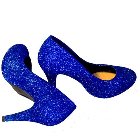 Sparkly Royal Something Blue Glitter high low Heels wedding bride bridal prom shoes