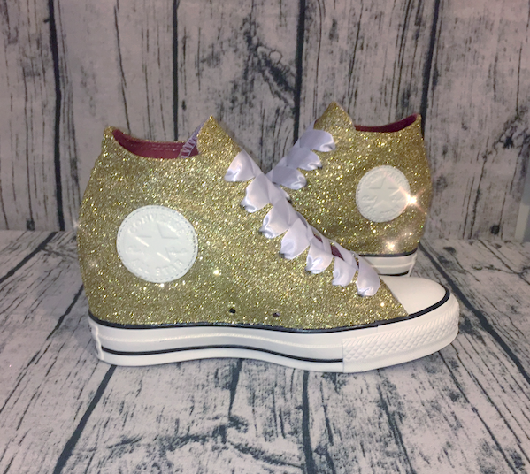 Women's Sparkly Gold Glitter Converse All Stars Lux Wedge Heel Wedding Bride Shoes