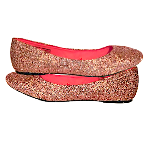 Women's Sparkly Rose Gold Pink Glitter Ballet Flats Shoes Bride Wedding Shoes