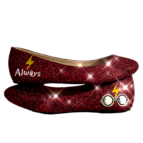 Women's Sparkly burgundy Glitter ballet Flats bride wedding shoes Harry Potter