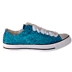 Womens Sparkly Glitter Crystals Converse All Star Sneakers Low Teal - Glitter Shoe Co