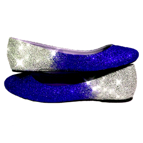 Womens Sparkly Royal Blue Silver Ombre Glitter Ballet Flats Wedding Bride Bridesmaid Shoes