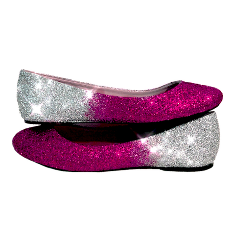 Women's Sparkly Pink Silver Ombre Glitter Ballet Flats Wedding Bride Shoes