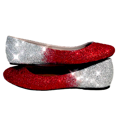 Women's Sparkly Red Silver Ombre Glitter Ballet Flats Wedding Bride Shoes