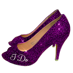 Womens Sparkly I Do High Heels low high peep toe purple pink blue rose gold - Glitter Shoe Co