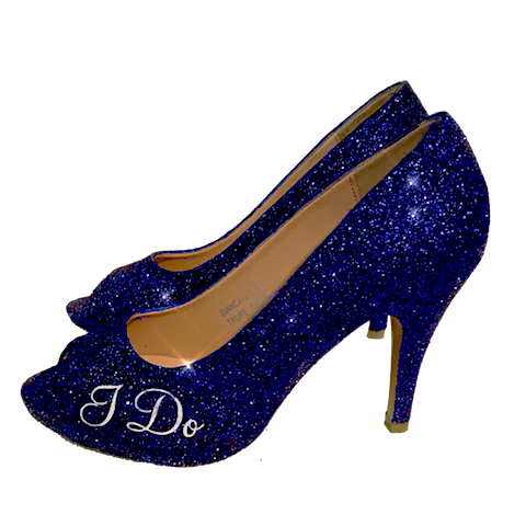 Women Sparkly I Do High Heels low high peep toe blue - Glitter Shoe Co