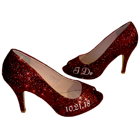 Women Sparkly I Do High Heels low high peep toe burgundy - Glitter Shoe Co