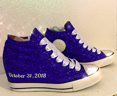 "Womens Converse All Star Lux Hidden Wedge 3"" Heel wedding bride sneakers shoes"